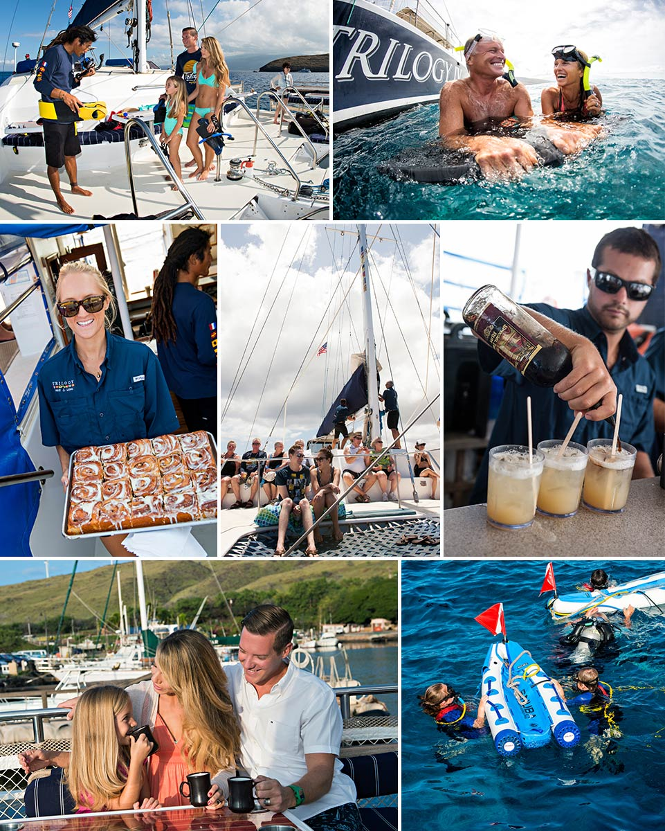 people having fun aboard the trilogy in maui